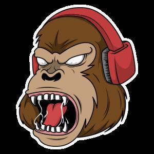 Gorilla mit einem Gaming-Headset