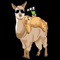 Lama Faultier T-Shirt Alpaka Chill Out Sloth