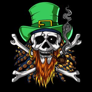Piraten-Schädel-irische Kobold-gekreuzte Knochen