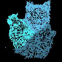Drei Wölfe Blau
