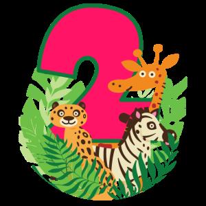 Dschungel Giraffe Zebra Geschenk zum 2. Geburtstag