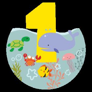 Meerestiere Wal Schildkröte Geschenk 1. Geburtstag