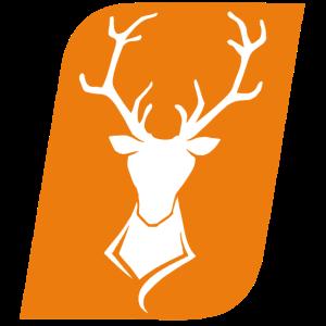 Hirschkopf Weiß auf Orange