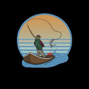 Angler Bootsangler Fliegenfischen Anglergeschenk