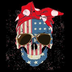 Pink Bow Skull Woman Shirt American Flag Glasses S