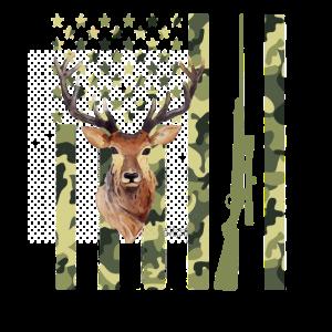 Camouflage amerikanische Flagge Hirschjagd