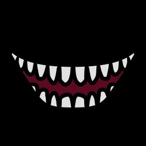 Hässlicher grinsender lachender Monster Mund