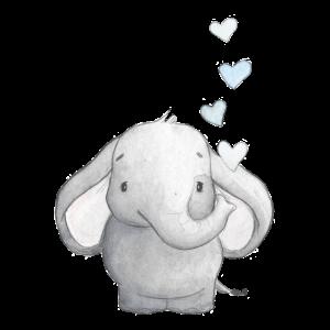 Elefantenbaby mit Herzen