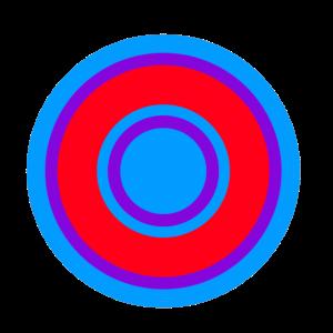 Konzentrische Kreise in 70er Jahre Farben