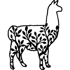Lama Tierschatten mit Blättern und Ästen