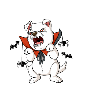Hund Vampir Dracula Halloween Grusel Welpe Terrier