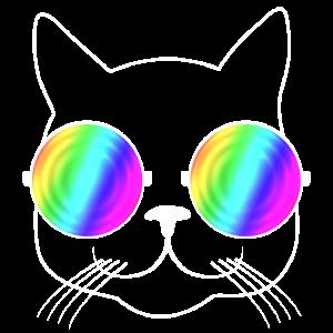 Coole Katze mit Regenbogen - Sonnenbrille