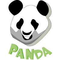 Pandakopf mit schatten und Panda Schriftzug