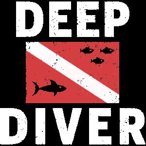 Tauchen Tief Meer Fische Hai Taucher Geschenk