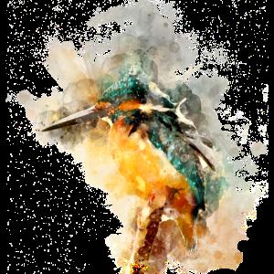 Eisvogel Vogel Wasserfarben Effekt