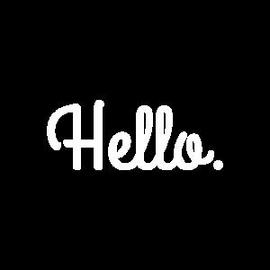 Hello. Schriftzug (weiß)