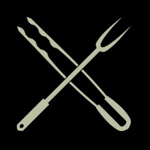 Grillzange und Fleischgabel