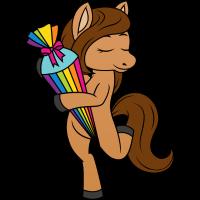 Pferd Pony Schulkind Schule Zuckertüte Regenbogen
