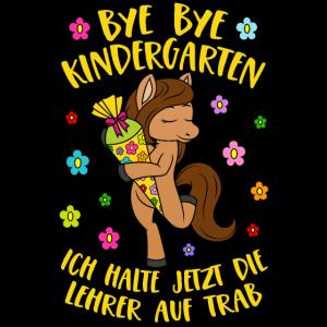 Pferd Pony Bye Bye Kindergarten Lehrer auf Trab