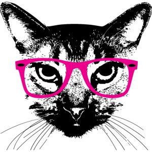 Hipster Katze Pinke Brille Hipster Cat glasses