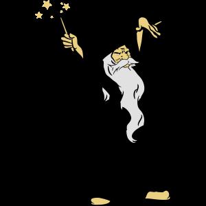 zauberer Zauberstab grimmig