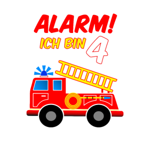 4. Geburtstag Alarm Ich Bin 4 Feuerwehr Auto