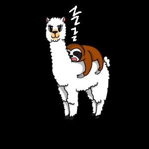 Alpaka Lama Faultier Schlafen MorgenmuffelGeschenk