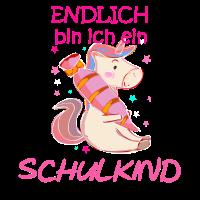 Endlich Schulkind Schulanfang 2019 Einhorn Glitzer