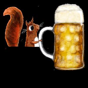 Das kleine Hörnchen in der Hemdtasche mit Bier