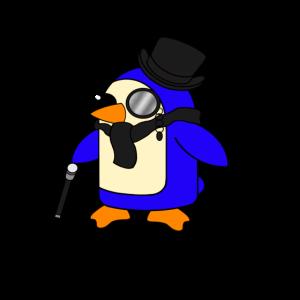 Netter vornehmer schwarzer Pinguin