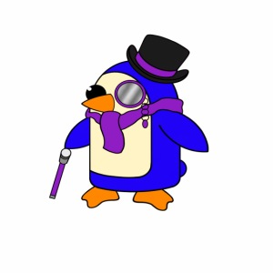 Cute Posh Purple Violet Penguin