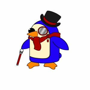 Cute Posh Crimson Red Penguin