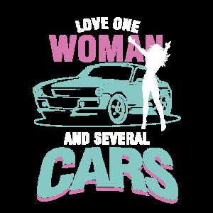 Liebe eine Frau und mehrere Autos Sammler