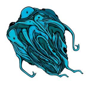 Flying blue blob
