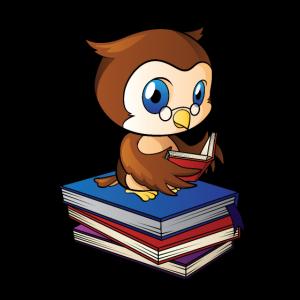 Eule auf Bücher ist am Lesen