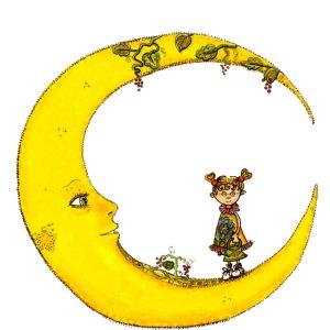 Fille sur la lune