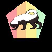 Honigdachs Honey Badger Retro Marder Mutig