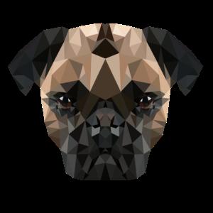 Pug Dog Polygon Mops Design