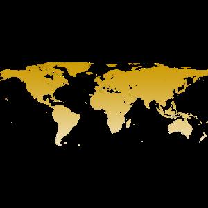 Weltkarte in gold