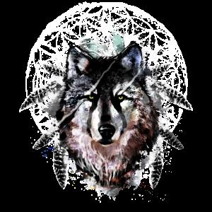 Aquarell Wolf Federn