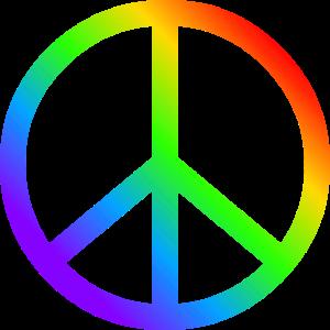 Friedenszeichen CND in Regenbogen Farben