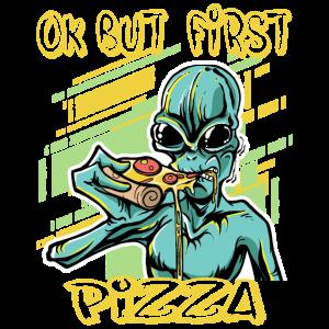 Alien isst Pizza