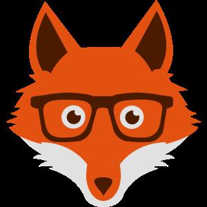 Süßer Lustiger Hipster Fuchs mit Nerd Brille