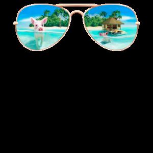 Bahamas Schwimmende Schweine Sonnenbrille Lustig