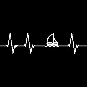 Herzschlag für Segeln (weiß)