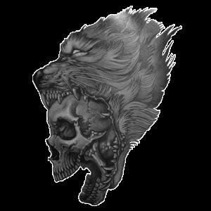 Schädel im Wolfsmaul