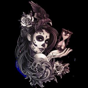 Tattoo Style Sugar Skull Mädchen mit Vogel