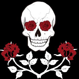 Totenkopf T-shirt Rosen Gotic