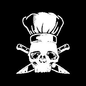 Totenschädel mit Kochmütze und gekreuzten Messern