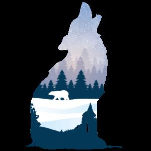 Heulender Wolf im Winter Silhouette mit Nadelwald